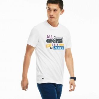 T-shirt Lacoste blanc écriture
